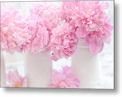 Romantic Shabby Chic Pink Pastel Peonies - Pink Peonies In White Mason Jars Metal Print by Kathy Fornal