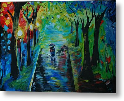 Metal Print featuring the painting Romantic Stroll by Leslie Allen