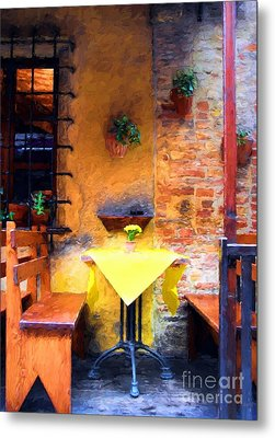 Romantic Table For Two  Metal Print by Mel Steinhauer
