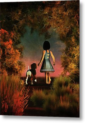 Romantic Walk In The Woods Metal Print