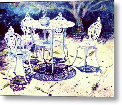 Romantic White Garden Metal Print by Estela Robles