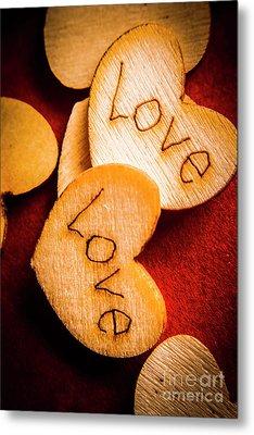 Romantic Wooden Hearts Metal Print