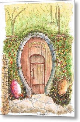 Rombauer Vineyard Entrance Door, California Metal Print