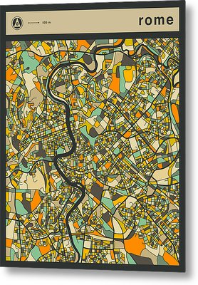 Rome City Map Metal Print