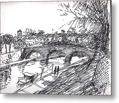 Bridge At Isola Tiberina Rome Sketch Metal Print by Ylli Haruni
