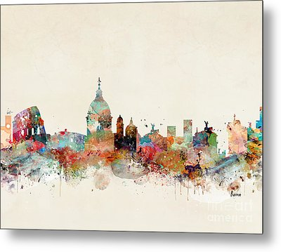 Metal Print featuring the painting Rome Italy Skyline by Bri B