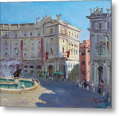 Rome Piazza Republica Metal Print by Ylli Haruni