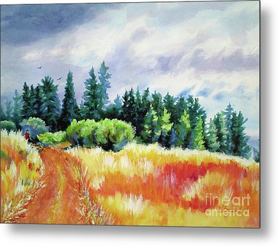 Metal Print featuring the painting Romp On The Hill by Kathy Braud