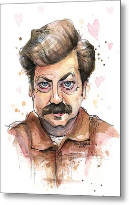 Ron Swanson Funny Love Portrait Metal Print by Olga Shvartsur