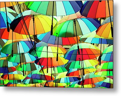 Roof Made From Colorful Umbrellas Metal Print