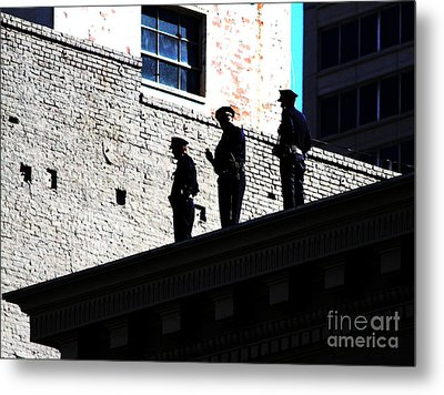 Rooftop Cops Metal Print by Wingsdomain Art and Photography