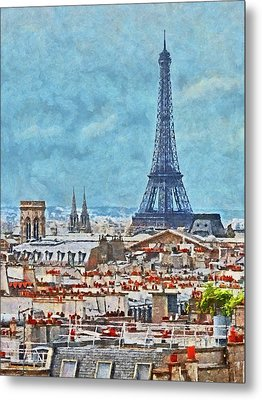 Rooftops In Paris And The Eiffel Tower Metal Print
