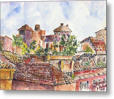Rooftops Of Rome Metal Print by Albert Fendig