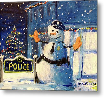 Rookie Working Christmas Eve Metal Print by Jack Skinner