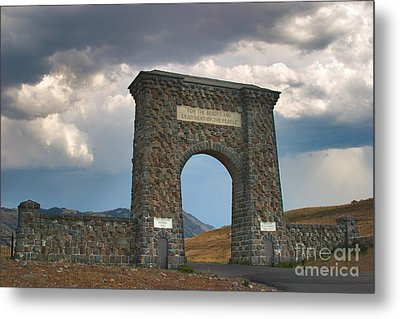 Metal Print featuring the photograph Roosevelt Arch -- Welcome To Yellowstone National Park by Charles Kozierok