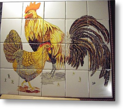 Metal Print featuring the ceramic art Rooster And Hen by Hilda and Jose Garrancho