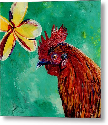 Metal Print featuring the painting Rooster And Plumeria by Marionette Taboniar
