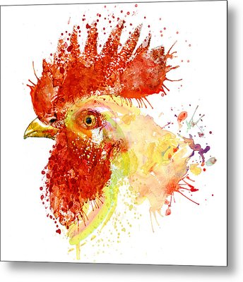 Rooster Head Metal Print by Marian Voicu