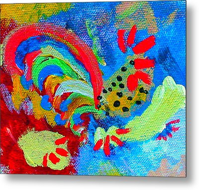 Rooster In The Sky From The Fairy Queen Metal Print by Angela Annas