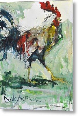 Rooster Painting Metal Print by Robert Joyner