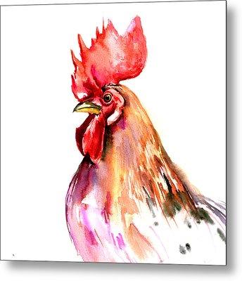 Rooster Portrait Metal Print by Suren Nersisyan