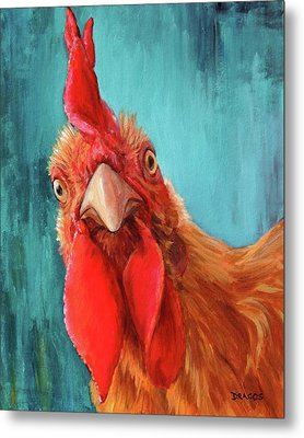 Rooster With Attitude Metal Print by Dottie Dracos
