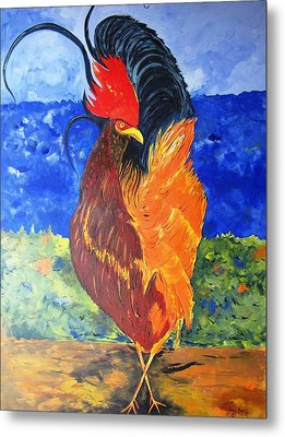 Metal Print featuring the painting Rooster With Attitude by Gary Smith