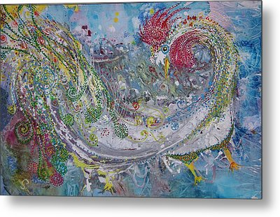 Metal Print featuring the painting Rooster With The Peacock Tail by Sima Amid Wewetzer