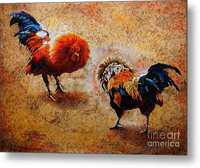 Roosters  Scene Metal Print by J- J- Espinoza