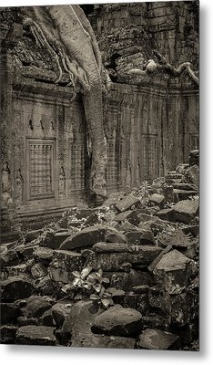 Metal Print featuring the photograph Roots In Ruins 6, Ta Prohm, 2014 by Hitendra SINKAR