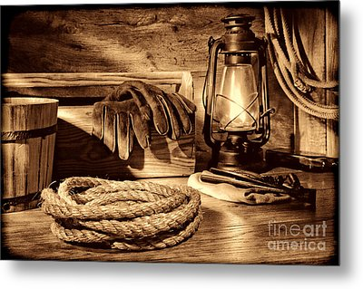Rope And Tools In A Barn Metal Print by American West Legend By Olivier Le Queinec
