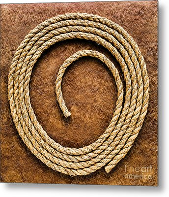 Rope On Leather Metal Print by Olivier Le Queinec