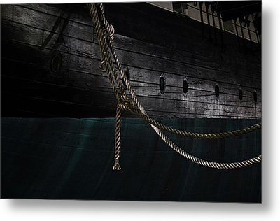 Ropes On The Uss Constellation Navy Ship Metal Print