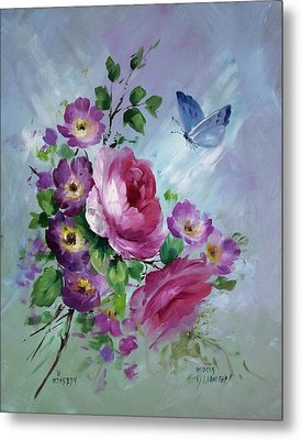 Rose And Butterfly Metal Print by David Jansen