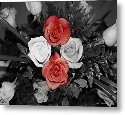 Rose Bouquet Metal Print by DigiArt Diaries by Vicky B Fuller