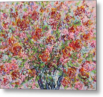 Rose Bouquet In Glass Vase Metal Print