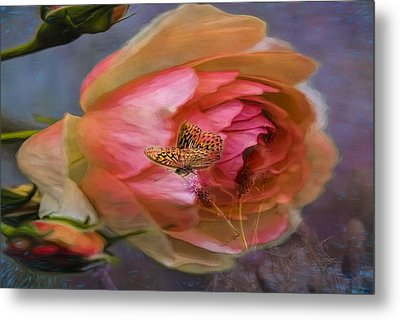 Rose Buttefly Metal Print
