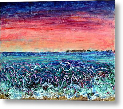 Rose Dusk Beach Metal Print