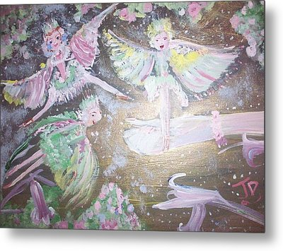Metal Print featuring the painting Rose Fairies by Judith Desrosiers