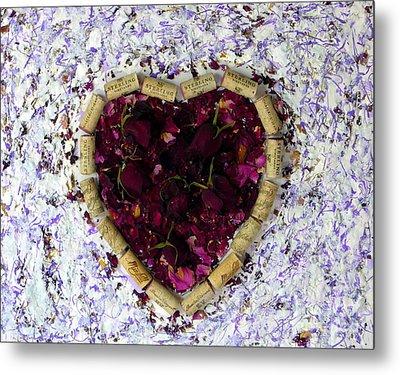 Rose Heart Cork Collage Metal Print by Marlene Rose Besso