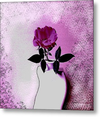 Rose In A Crooked Vase Ll Metal Print by Marsha Heiken