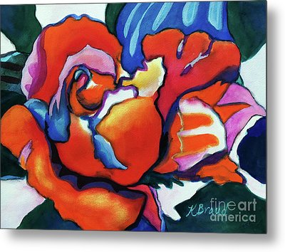 Metal Print featuring the painting Rose In Outline by Kathy Braud