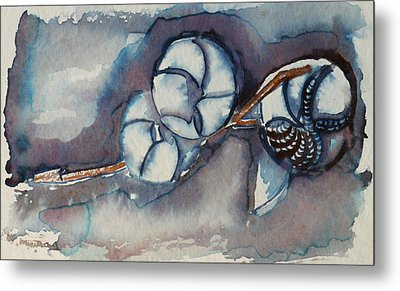 Rose Of Sharon Seed Pods Metal Print by Diana Davenport