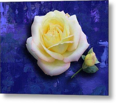 Rose On Blue Metal Print by Morgan Rex