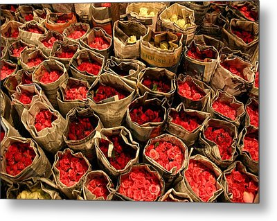 Rose Rolled In Newspaper Metal Print by Minaz Jantz