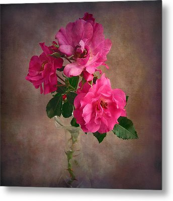 Metal Print featuring the photograph Rose Trio Still Life by Louise Kumpf