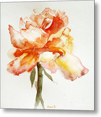 Rose Yellow Metal Print by Jasna Dragun