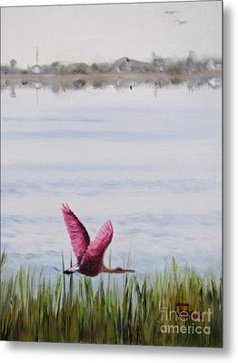 Metal Print featuring the painting Roseate Spoonbill Flight Over The Bay by Jimmie Bartlett