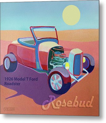 Rosebud Model T Roadster Metal Print by Evie Cook
