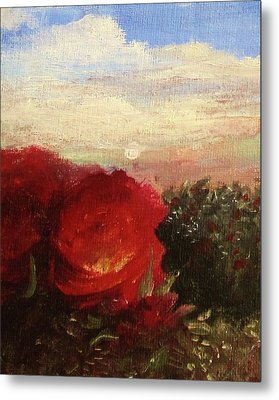 Metal Print featuring the painting Rosebush by Mary Ellen Frazee
